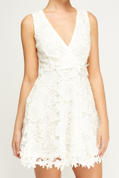 Mesh Overlay Cream Dress