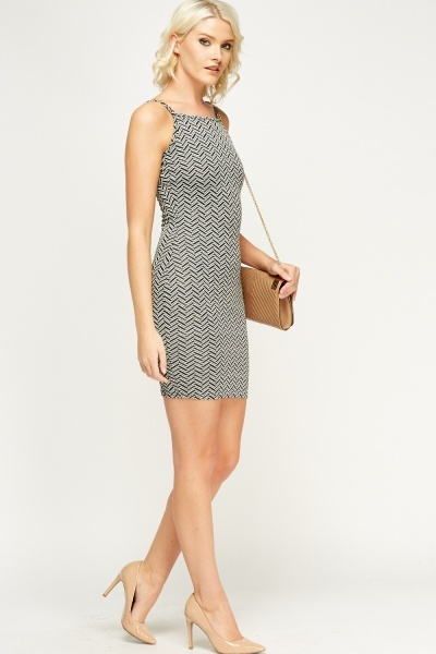 Mono Printed Bodycon Dress