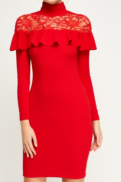 Red Lace Insert Embellished Bodycon Dress