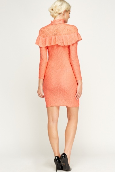 Textured Lace Insert High Neck Dress