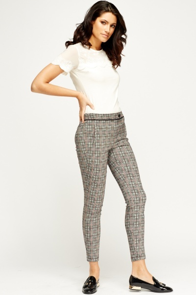 Grey Printed Cigarette Trousers