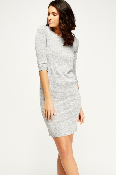 Grey Ruched Side Dress