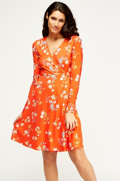 Orange Red Wrap Dress