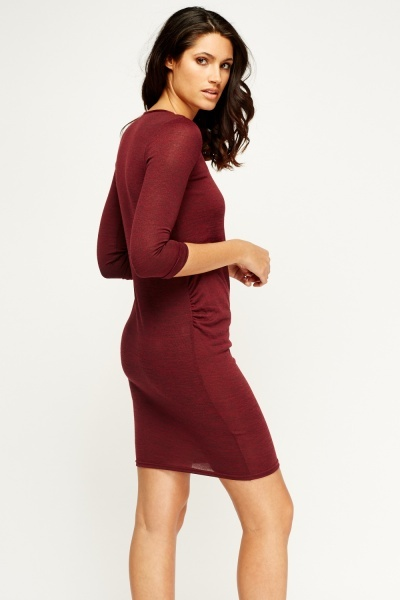 Plum Ruched Side Dress