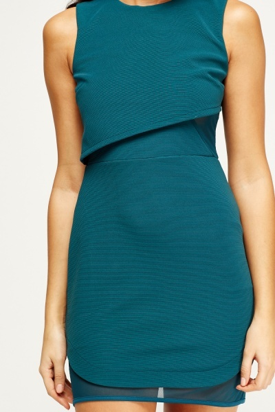 Teal Overlay Contrast Dress