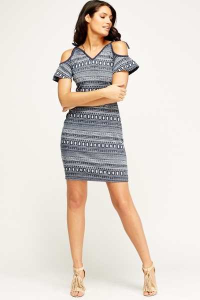 Tied Cold Shoulder Printed Dress