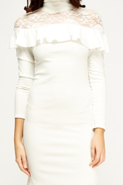 White Lace Insert Bodycon Dress