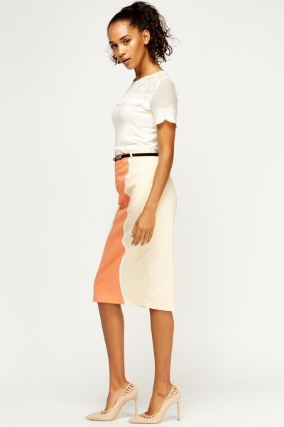 Belted Midi Pencil Skirt