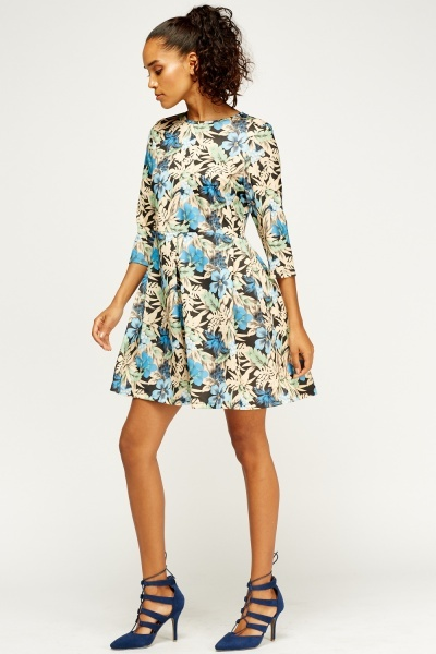 Blue Multi Print Skater Dress