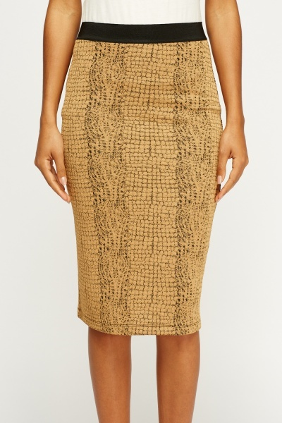 Brown Mock Croc Midi Skirt