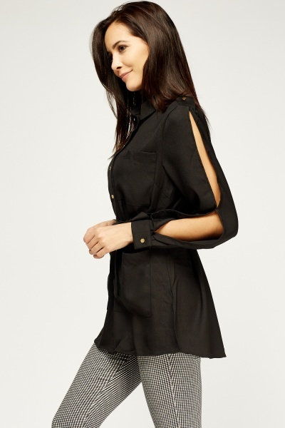 Belted Long Shirt