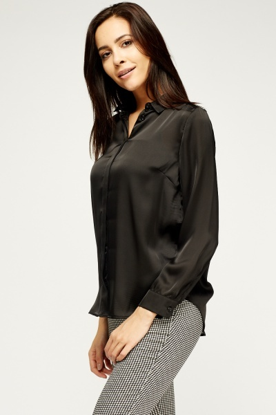 Black Silky Shirt Blouse