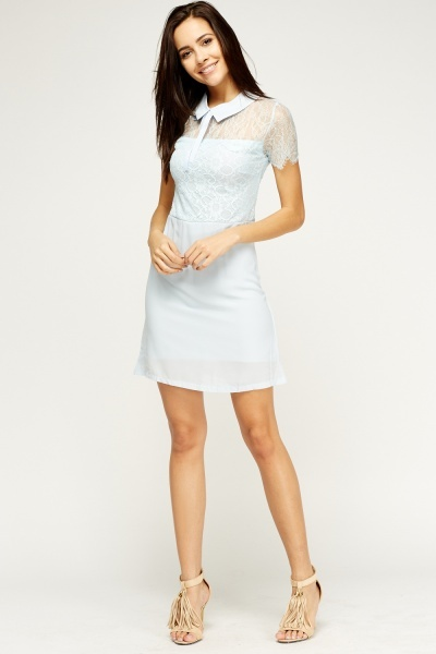Collared Lace Skater Dress