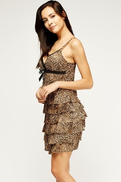 Leopard Print Frilled Dress