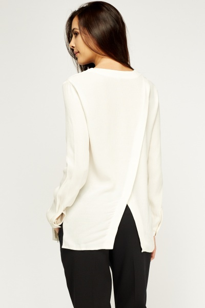 Off White Wrap Blouse