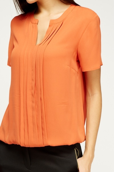 Orange Pleated Blouse