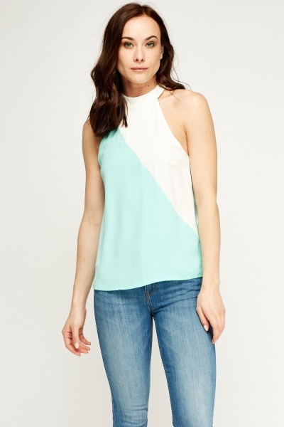 High Neck Colour Block Top