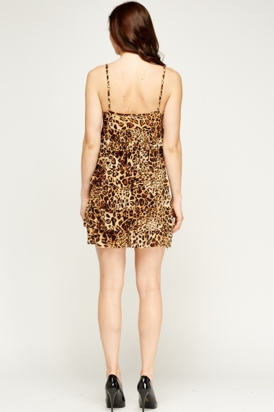 Leopard Print Bow Frilled Dress