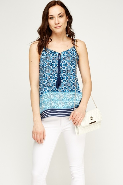 Mixed Print Tie Front Top
