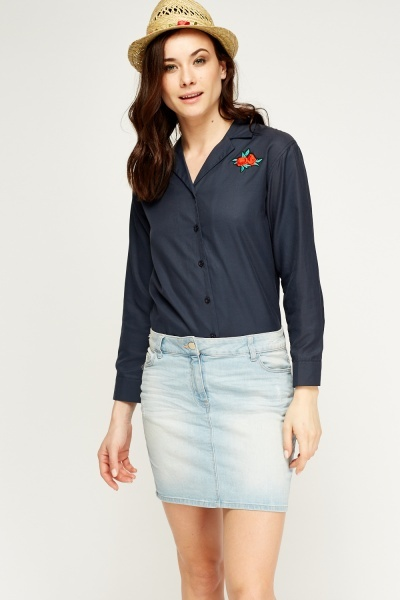 Rose Patch Button Up Shirt