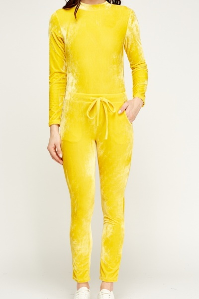 Yellow Velveteen Jumpsuit