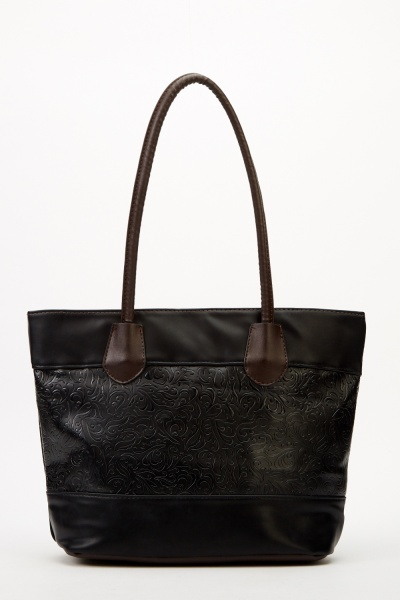 Black Textured Panel Handbag