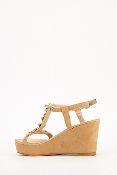 Embellished T-Bar Wedge Sandal