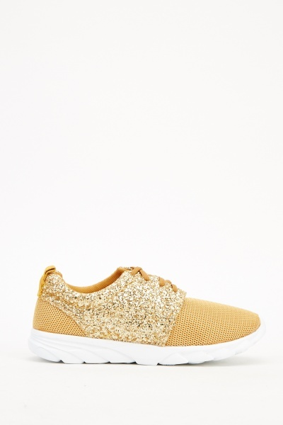 Golden Glitter Perforated Trainers