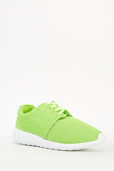 Green Glitter Perforated Trainers