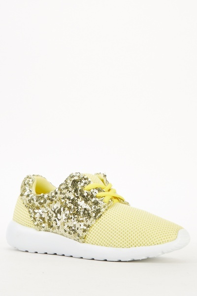 Pale Gold Perforated Trainers