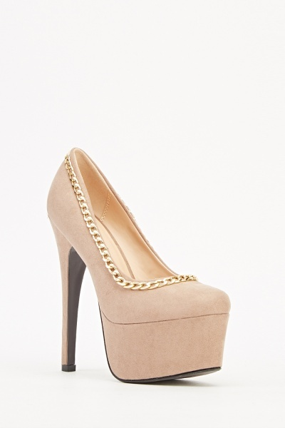 Platform Chained Trim Heels