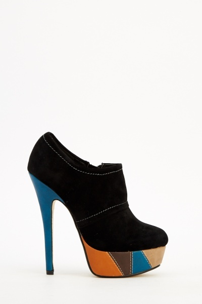 Suedette Contrast Heeled Boots