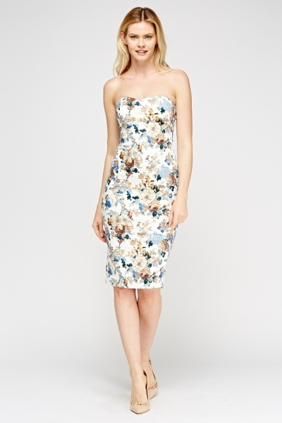 Bandeau Floral Bodycon Dress