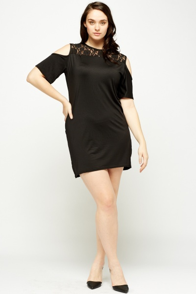 Black Cold Shoulder Lace Insert Dress