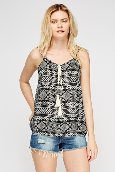 Black Mix Print Cami Top