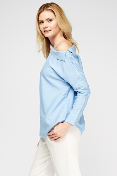 Button Side Blue Top