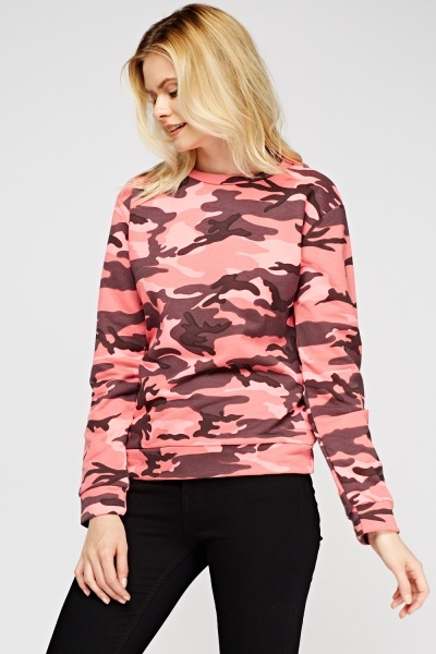 Hot Pink Camouflage Jumper