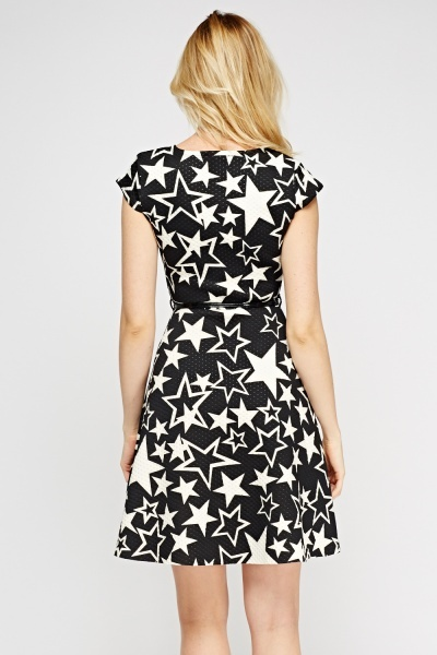 Star Textured Scuba Dress