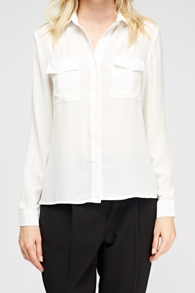 Twin Pocket Sheer Blouse