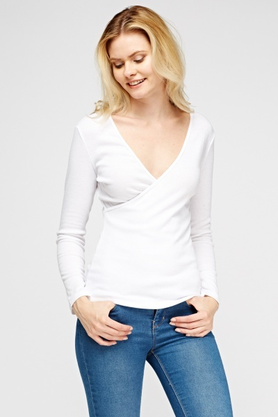 Wrapped Low Neck Sweater Top