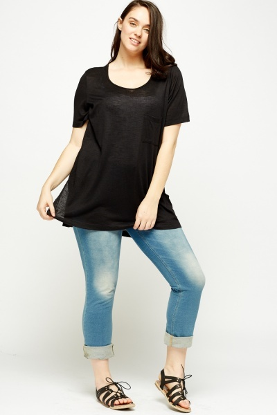 Black Dip Hem Top