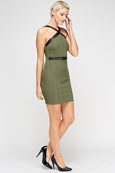 Chain Trim Olive Bandage Dress