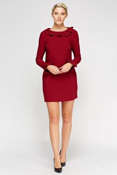 Frilled Hem Shift Dress