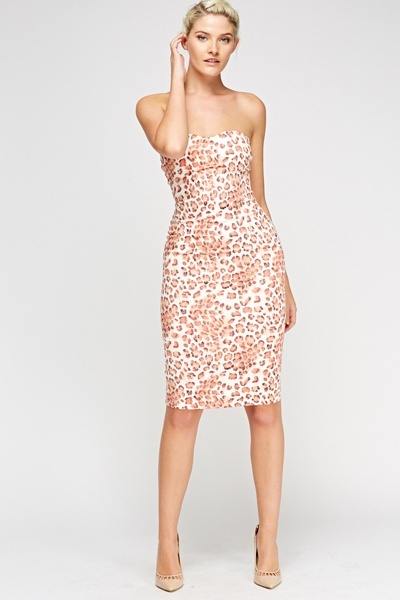 Leopard Print Bandeau Dress