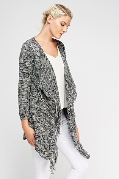 Speckled Knit Tassel Cardigan