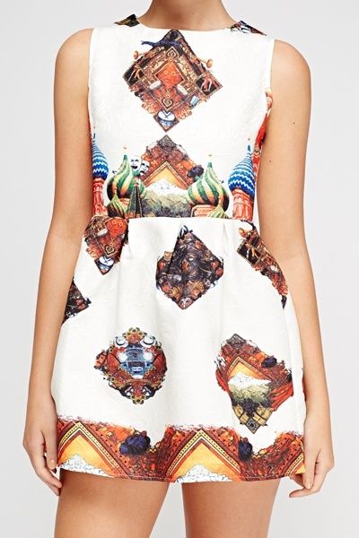 White Mixed Print Embossed Skater Dress
