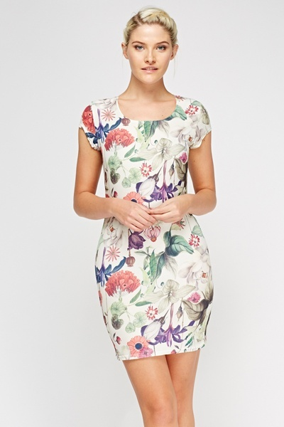 Wild Floral Bodycon Dress