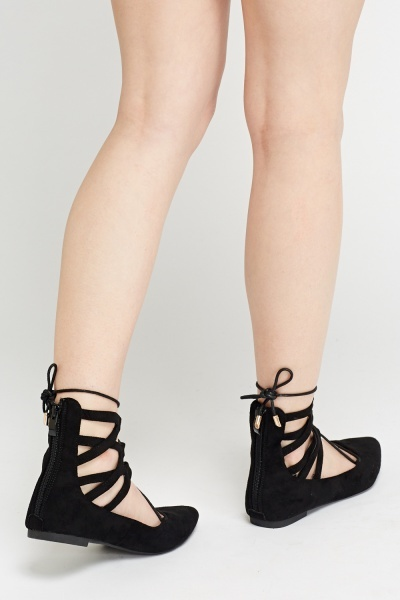 Court Flat Lace Up Sandals