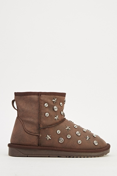 Embroidered Winter Ankle Boots