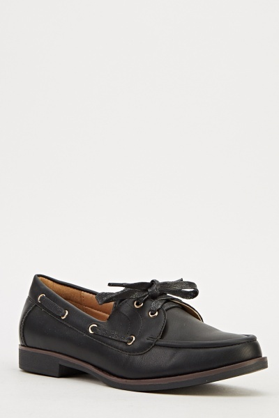 Lace Up Faux Leather Brogues